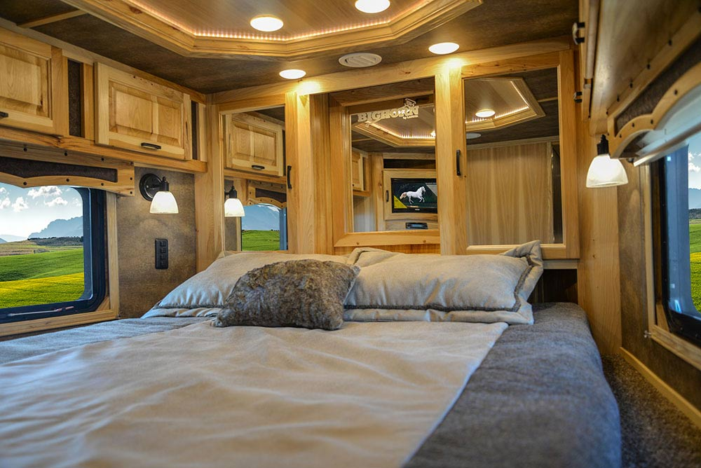 Bed in Gooseneck in BH8X23T2S Bighorn Edition Horse Trailer | Lakota Trailers