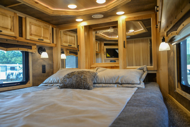 Bedroom in a BH8X23T2S Bighorn Edition Horse Trailer | Lakota Trailers