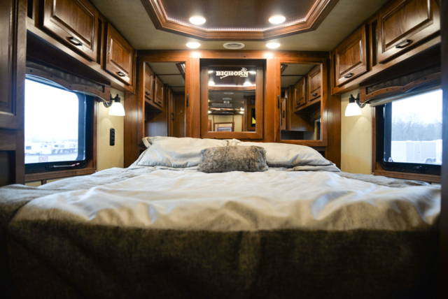 Bedroom in a BH8X11RK Big Horn Edition Horse Trailer | Lakota Trailers