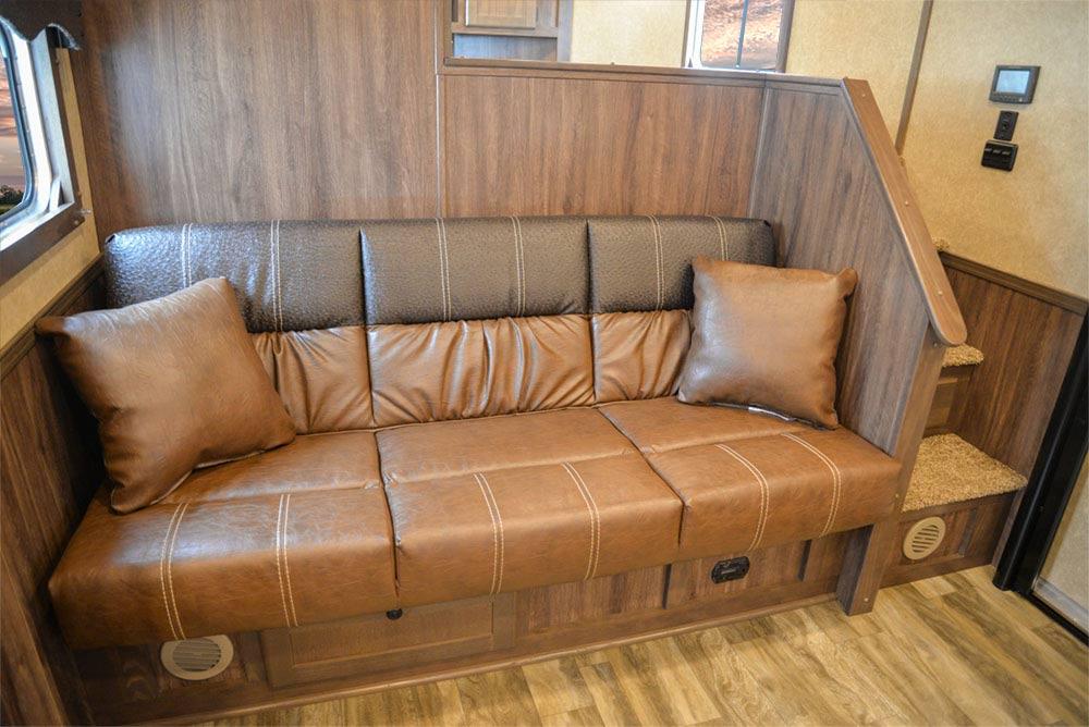 Sofa in C8X15SR Charger Edition Horse Trailer | Lakota Trailers