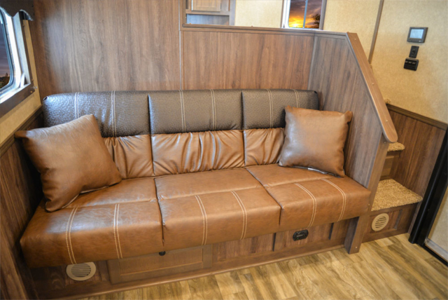 Sofa in a C8X15SR Charger Edition Horse Trailer | Lakota Trailers