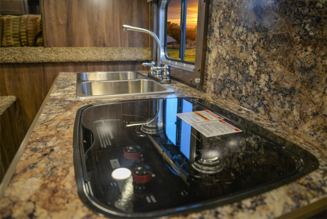 Kitchen in a CX11 Charger Edition Horse Trailer | Lakota Trailers