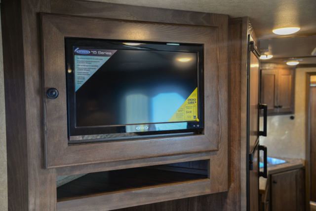 Bedroom TV in a LE8X11RK Charger Edition Livestock Trailer | Lakota Trailers