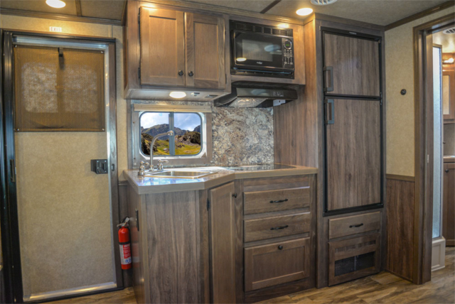 Kitchen in a C8X13SR Charger Edition Horse Trailer | Lakota Trailers