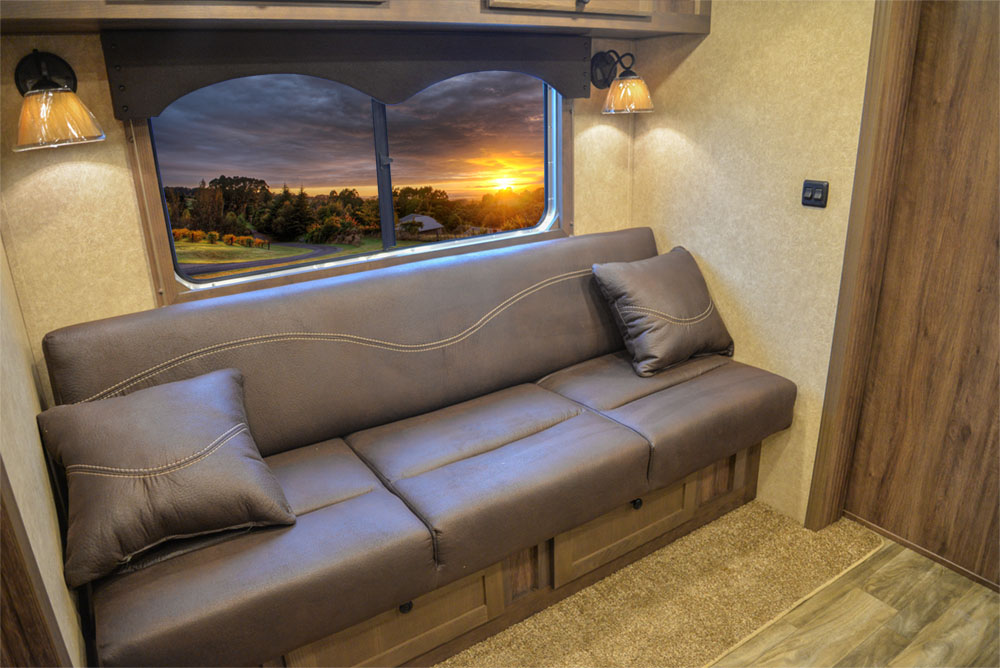 Sofa in a CX11 Charger Edition Horse Trailer | Lakota Trailers