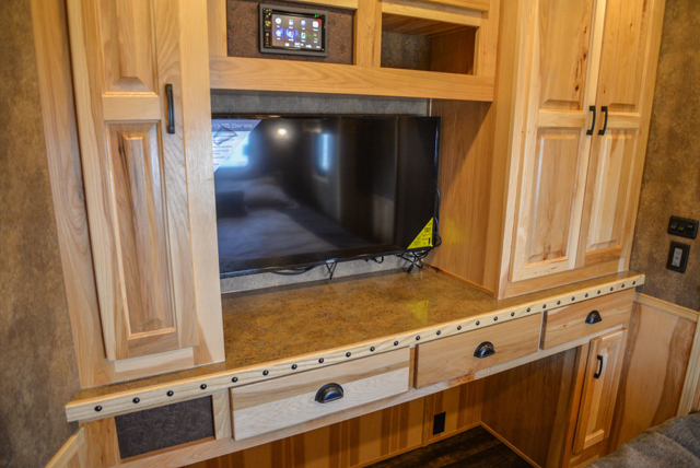 Second Bedroom Entertainment System in a BH8X23T2S Bighorn Edition Horse Trailer | Lakota Trailers