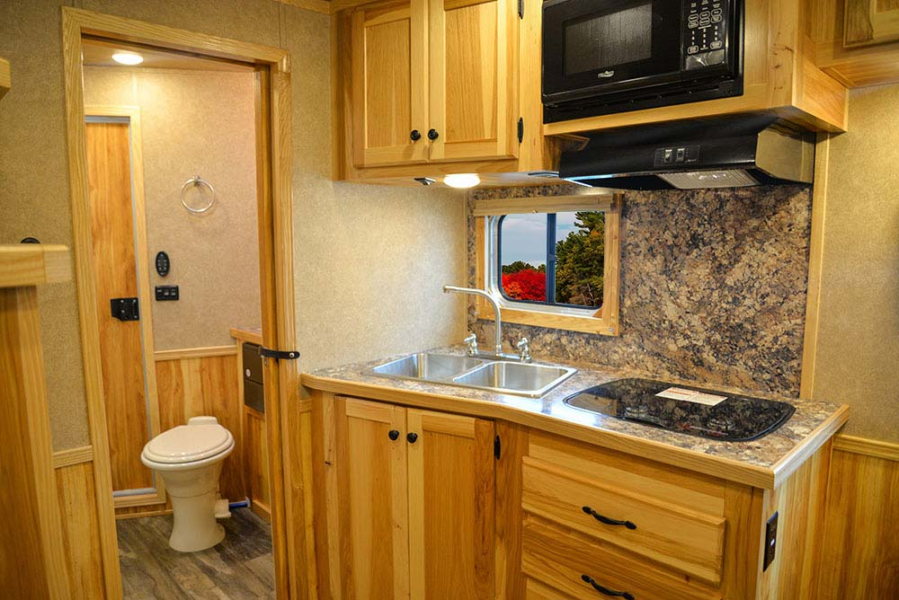 Kitchen Area in C8X11SR Charger Edition Horse Trailer | Lakota Trailers
