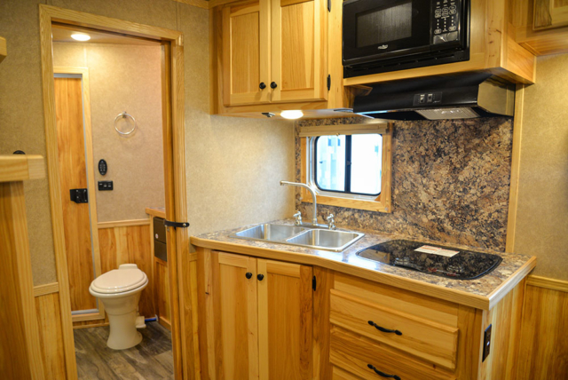 Kitchen in a C8X11SR Charger Edition Horse Trailer | Lakota Trailers